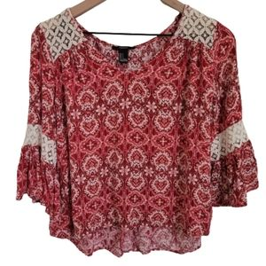 Forever 21 Printed Crochet Bell Sleeve Top